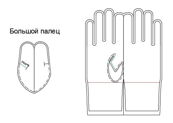 Как сделать выкройки перчаток 336