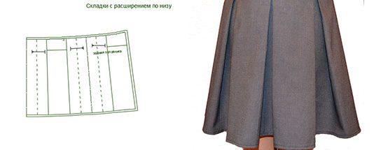 Выкройка юбки со встречными складками на кокетке